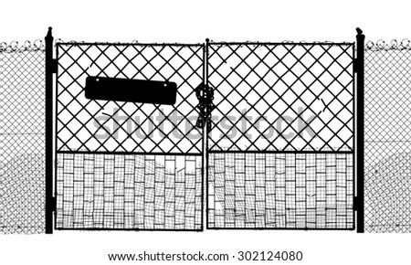 Silhouette of an old security gate with sign and lock - stock photo