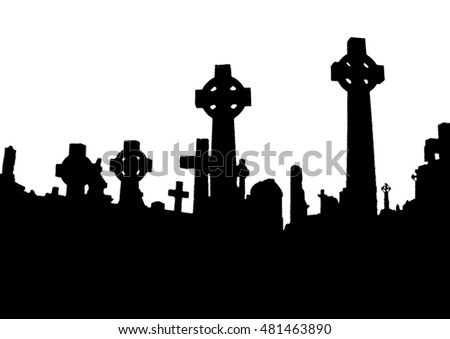 Silhouette of and old irish celtic cemetery. Halloween party poster background.