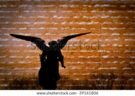 Silhouette of angel on textured background