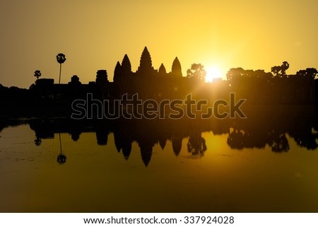 Silhouette of Angkor Wat in sunrise, the best time in the morning at Siem Reap, Cambodia - stock photo