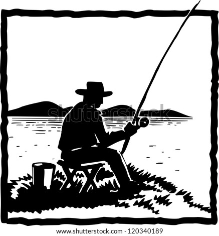 silhouette of Angler fishing