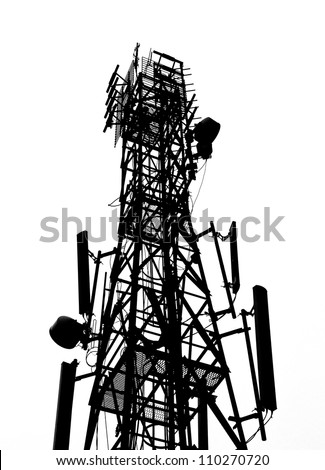 silhouette of antenna Tower of Communication - stock photo