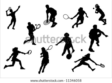 Silhouette of athlete of tennis