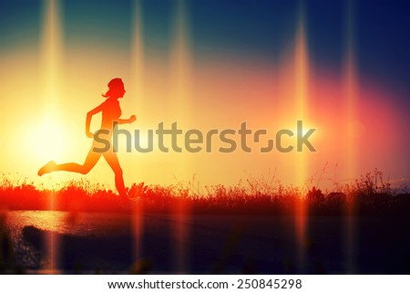 Silhouette of athletic woman running down the beautiful road at sunset, image with flares indicate the direction of run, heartbeat and running woman, cardiac Frequency, heart rhythm - stock photo