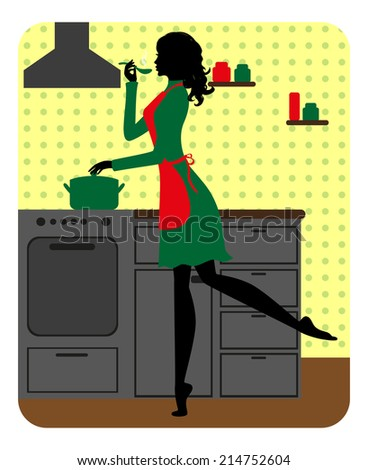 Silhouette of beautiful girl cooking. Raster version  - stock photo