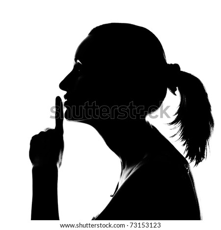 Silhouette of beautiful woman with hush sign isolated on white