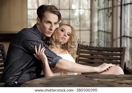 Silhouette of beauty attractive sensuality young adult couple in love posing in classic elegance clothes to date - stock photo
