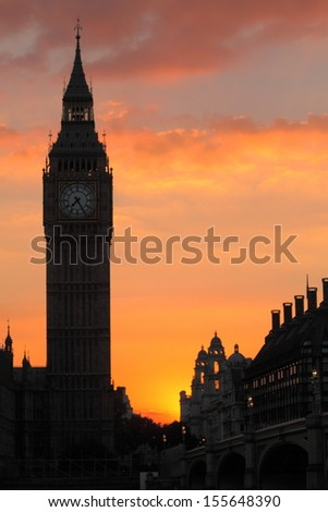 Silhouette of Big Ben at sunset, vertical - stock photo