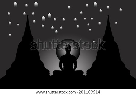 Silhouette of buddha at night and the lanterns floating in the sky,black & white style,Thailand - stock photo