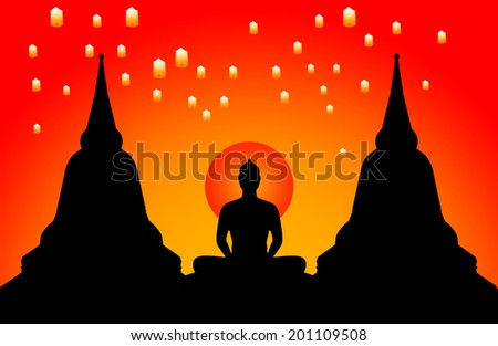 Silhouette of buddha in the evening and the lanterns floating in the sky,Thailand - stock photo