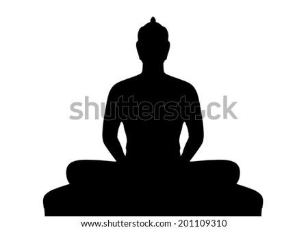 Silhouette of buddha on white background - stock photo