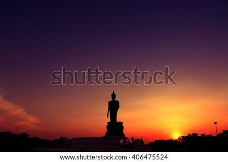 Silhouette of Buddha with a beautiful light.dark