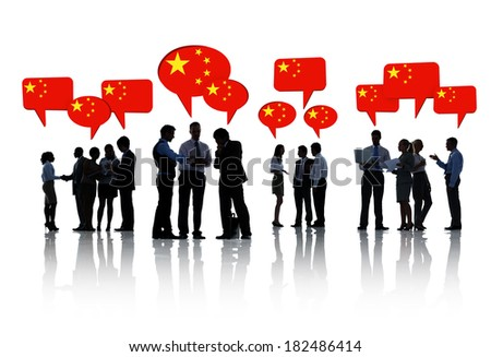 Silhouette Of Business People Discussing About China - stock photo