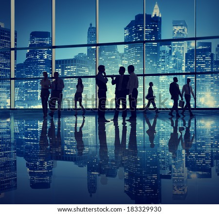 Silhouette of Business People in New York Office - stock photo