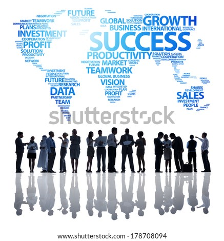 Silhouette of Business People with Global Success - stock photo