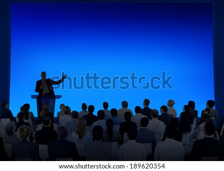 Silhouette of Business Presentation - stock photo