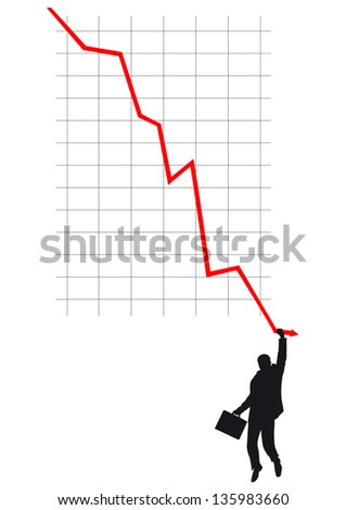 Silhouette of businessmen clinging to falling red line on graph