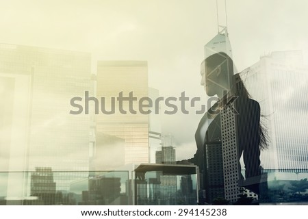 Silhouette of businesswoman stand and look far away in Hong Kong, Asia. Double exposure. - stock photo