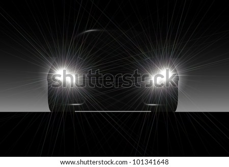 Silhouette of car with headlights on black background. - stock photo