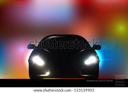 Silhouette of car with headlights on blurred background. Raster version.
