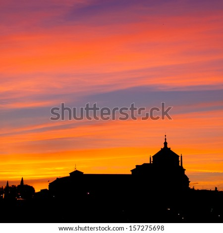 Silhouette of catholic church in Toledo, UNESCO protected town in Spain. - stock photo
