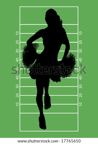 silhouette of cheerleader on football field background