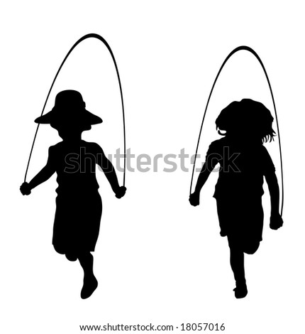 silhouette of children playing jump rope - stock photo