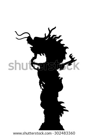 Silhouette Of Chinese style dragon statue - stock photo