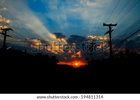 Silhouette of city sunset - stock photo