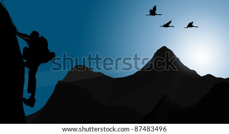Silhouette of climbing young adult at the top of summit (wall) with aerial view on mountain range and sun ray - stock photo