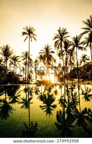 Silhouette of coconut tree at the beach with shadow in swimming pool on sunset time - stock photo