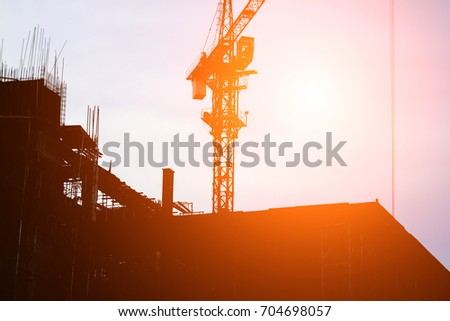 Silhouette of Construction on sunset