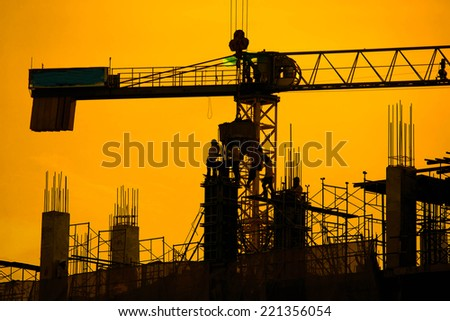 silhouette of construction worker. - stock photo