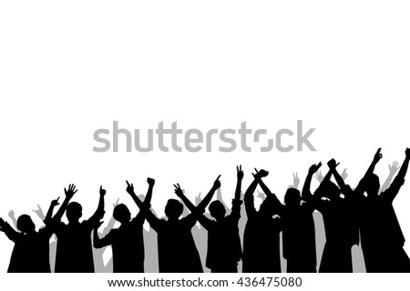 Silhouette of crowd people cheering and excited.  - stock photo
