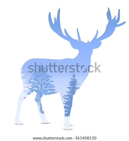 Silhouette of deer with mountains and coniferous trees. Blue shades. Winter.