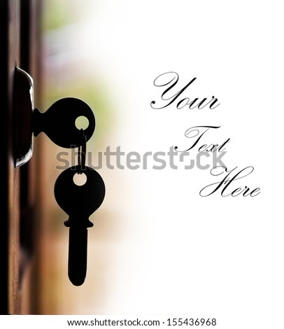 Silhouette of door keys hanging on the open door with white background and copy space for text. The keys represents concept of security of wealth or safe home or unlocking of the potential, etc - stock photo