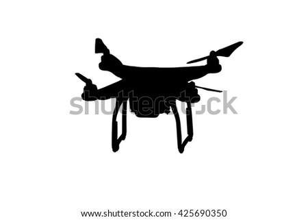 silhouette of drone on white isolate .This has clipping path. - stock photo