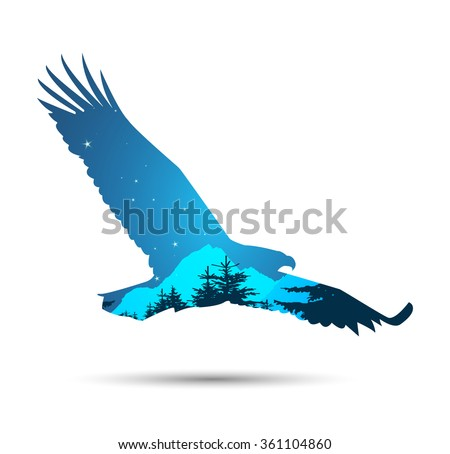 Silhouette of eagle with coniferous trees and snowy rocks on the background of night sky.  - stock photo