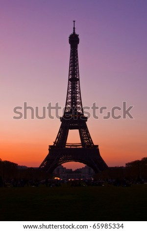 Silhouette of Eiffel Tower in the evening after sunset - stock photo