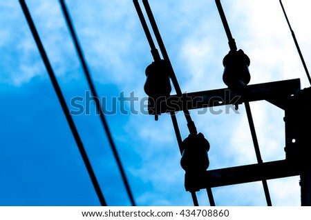 Silhouette of electric wire.
