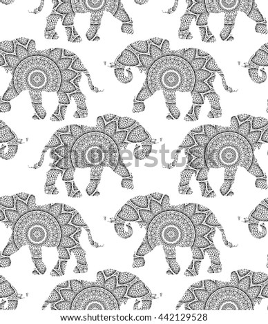 Silhouette of elephant with king`s circular ornament.  Mandala art. Seamless pattern.