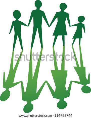 silhouette of family, in green tone. - stock photo