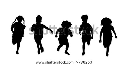 silhouette of five children running - stock photo