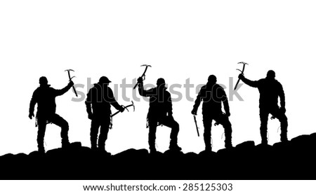 silhouette of five climbers with ice axe in hand on the black background