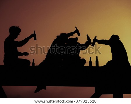 Silhouette of four friend - stock photo