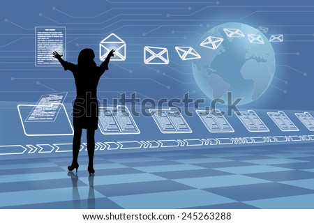 Silhouette of future business woman reading and filing emails folders beside earth globe