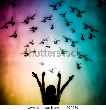Silhouette of girl and dove, freedom and peace abstract concept background - stock photo