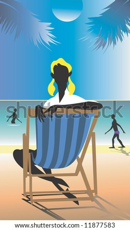 Silhouette of Girl relaxing in a beach  in a chair
