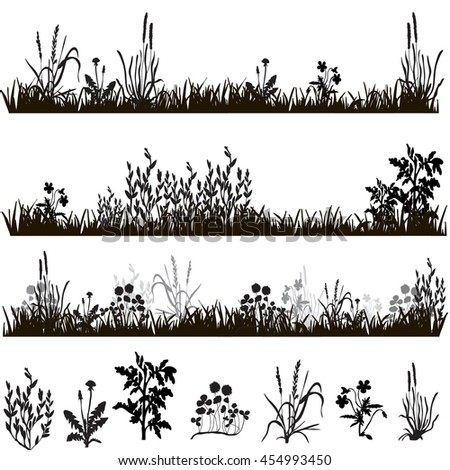 silhouette of grass and plants, in isolation