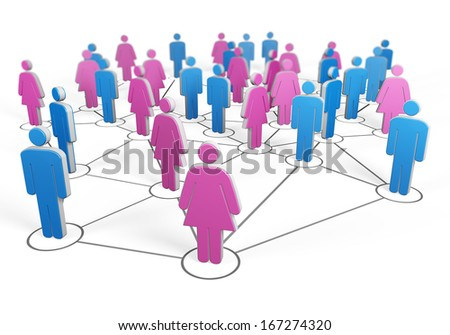 Silhouette of group of men and women connected together by wires make up the social network - stock photo